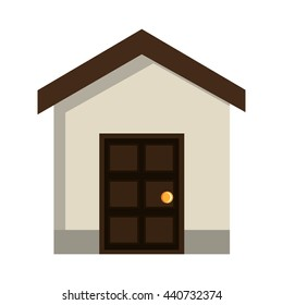 grey house icon with brown door and roof front view over isolated background,vector illustration