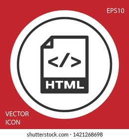 Grey HTML file document icon. Download html button icon isolated on red background. HTML file symbol. Markup language symbol. White circle button. Vector Illustration