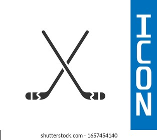 Grey Ice hockey sticks icon isolated on white background.  Vector Illustration
