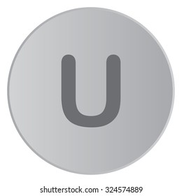 A Grey Icon Isolated on a Button with Grey Background - U