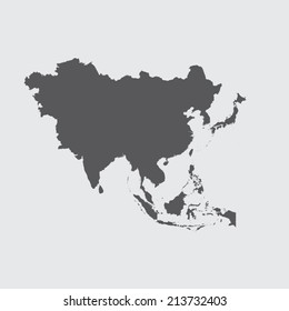 A Grey Illustration of the outline of the continent of Asia
