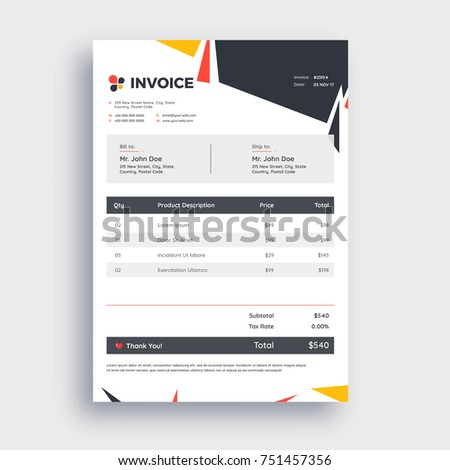 Grey Invoice Template Design Your Business Image Vectorielle De
