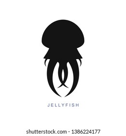 Grey jellyfish, medusa icon, sign. Sea animal, fish, logo. Modern design. Fashion print for clothes, cards, picture banner for websites, vector Illustration.