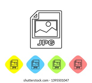 Grey JPG file document icon. Download image button line icon isolated on white background. JPG file symbol. Set icon in color rhombus buttons. Vector Illustration