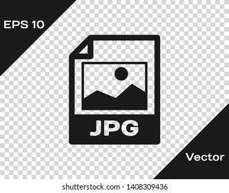 Grey JPG file document icon. Download image button icon isolated on transparent background. JPG file symbol. Vector Illustration