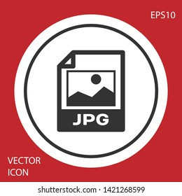 Grey JPG file document icon. Download image button icon isolated on red background. JPG file symbol. White circle button. Vector Illustration