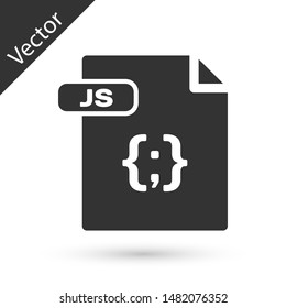 Grey JS file document. Download js button icon isolated on white background. JS file symbol.  Vector Illustration