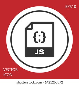 Grey JS file document icon. Download js button icon isolated on red background. JS file symbol. White circle button. Vector Illustration