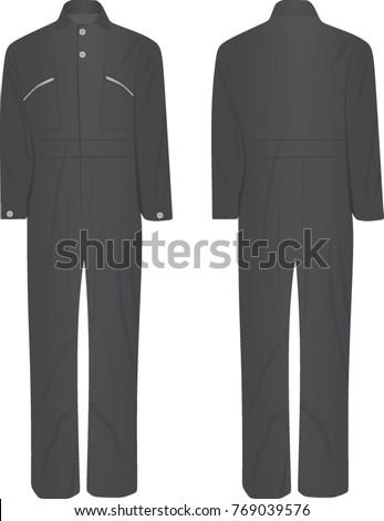 41ff6e6e76 Grey Jumpsuit Vector Illustration Vector de stock (libre de regalías ...
