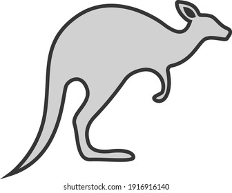 Grey kangaroo, illustration, vector on white background.