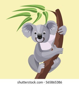 Grey koala bear isolated on wood branch with green leaves. Australian marsupial animal that eat only eucalyptus sitting on tropical tree trunk. Vector illustration of herbivorous koala