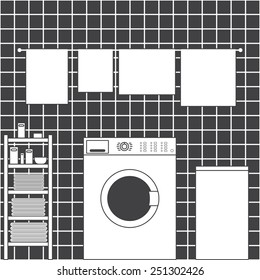 Grey laundry room interior with ceramic tile wall, front loading type washing machine, laundry basket, drying towels and shelving with clean towels, packs of washing powder, bar of soap in flat style