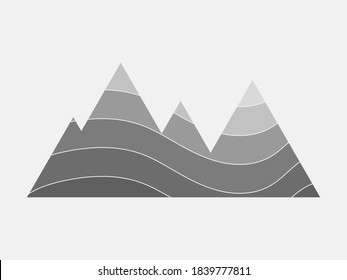 Grey layered rock mountain illustration. Folding sedimentary structure. Anticline and syncline.