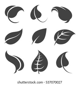 Grey leaves silhouettes isolated on white background. Vector illustration