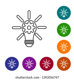 Grey Light bulb with rays shine and gear inside line icon isolated on white background. Innovation concept. Set icon in color circle buttons. Vector Illustration