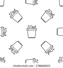 Grey line Bucket with soap suds icon isolated seamless pattern on white background. Bowl with water. Washing clothes, cleaning equipment.  Vector Illustration