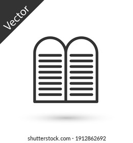 Grey line The commandments icon isolated on white background. Gods law concept. Vector.