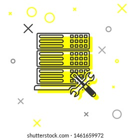 Grey line Database server with screwdriver and wrench icon isolated on white background. Adjusting, service, setting, maintenance, repair, fixing.  Vector Illustration