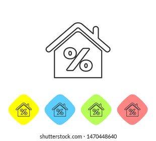 Grey line House with percant discount tag icon  on white background. House percentage sign price. Real estate home. Credit percentage symbol. Set icons in color rhombus buttons. Vector Illustration