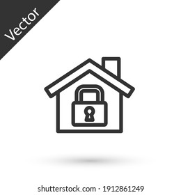Grey line House under protection icon isolated on white background. Home and lock. Protection, safety, security, protect, defense concept. Vector.