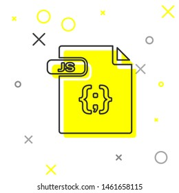 Grey line JS file document. Download js button icon isolated on white background. JS file symbol.  Vector Illustration