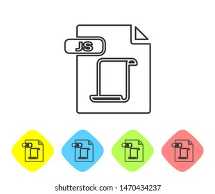 Grey line JS file document. Download js button icon isolated on white background. JS file symbol. Set icons in color rhombus buttons. Vector Illustration