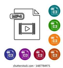 Grey line MP4 file document. Download mp4 button icon isolated on white background. MP4 file symbol. Set icons in color circle buttons. Vector Illustration