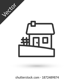Grey line Old Ukrainian house hut icon isolated on white background. Traditional village house. Vector.