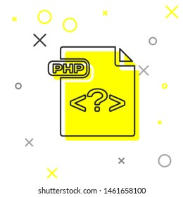 Grey line PHP file document. Download php button icon isolated on white background. PHP file symbol.  Vector Illustration