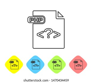 Grey line PHP file document. Download php button icon isolated on white background. PHP file symbol. Set icons in color rhombus buttons. Vector Illustration