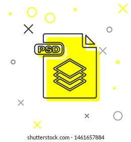 Grey line PSD file document. Download psd button icon isolated on white background. PSD file symbol.  Vector Illustration
