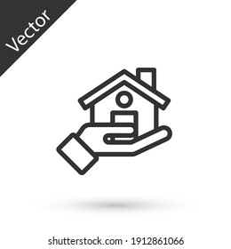 Grey line Realtor icon isolated on white background. Buying house. Vector.