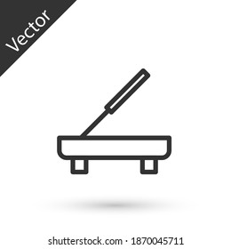 Grey line Scented spa stick on a wooden stand icon isolated on white background. Incense stick. Cosmetic procedure aromatherapy. Vector.