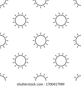 Grey line Sun icon isolated seamless pattern on white background. Summer symbol. Good sunny day. Vector Illustration