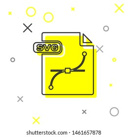 Grey line SVG file document. Download svg button icon isolated on white background. SVG file symbol.  Vector Illustration