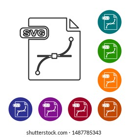 Grey line SVG file document. Download svg button icon isolated on white background. SVG file symbol. Set icons in color circle buttons. Vector Illustration