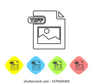 Grey line TIFF file document. Download tiff button icon isolated on white background. TIFF file symbol. Set icons in color rhombus buttons. Vector Illustration