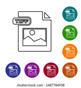 Grey line TIFF file document. Download tiff button icon isolated on white background. TIFF file symbol. Set icons in color circle buttons. Vector Illustration
