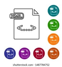 Grey line XML file document. Download xml button icon isolated on white background. XML file symbol. Set icons in color circle buttons. Vector Illustration