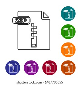 Grey line ZIP file document. Download zip button icon isolated on white background. ZIP file symbol. Set icons in color circle buttons. Vector Illustration