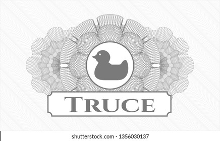 Grey linear rosette with rubber duck icon and Truce text inside