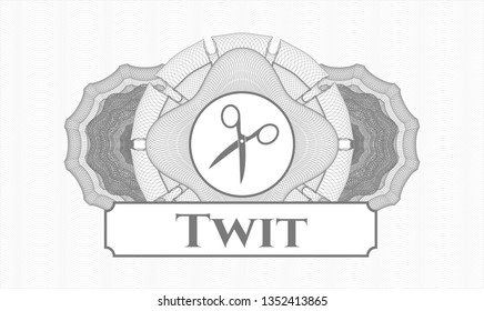 Grey linear rosette with scissors icon and Twit text inside
