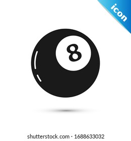 Grey Magic ball of predictions for decision-making icon isolated on white background. Crystal ball.  Vector Illustration