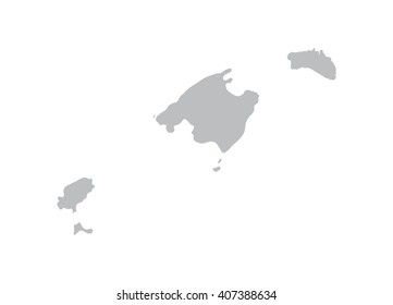 grey map of Balearic Islands