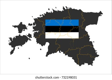 Grey map of Estonia and national flag.