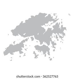 grey map of Hong Kong