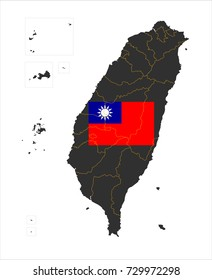 Grey map of Republic of China(Taiwan) and national flag.