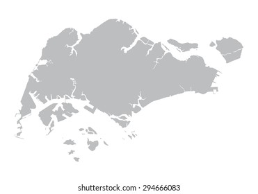 grey map of Singapore