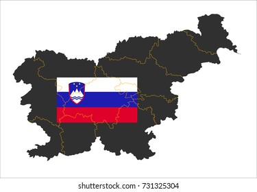 Grey map of Slovenia and national flag.