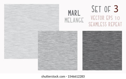Grey Marl Heather Texture Background. Faux Cotton Fabric Vector EPS 10